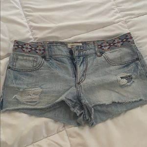 Patterned and Distressed Denim Shorts